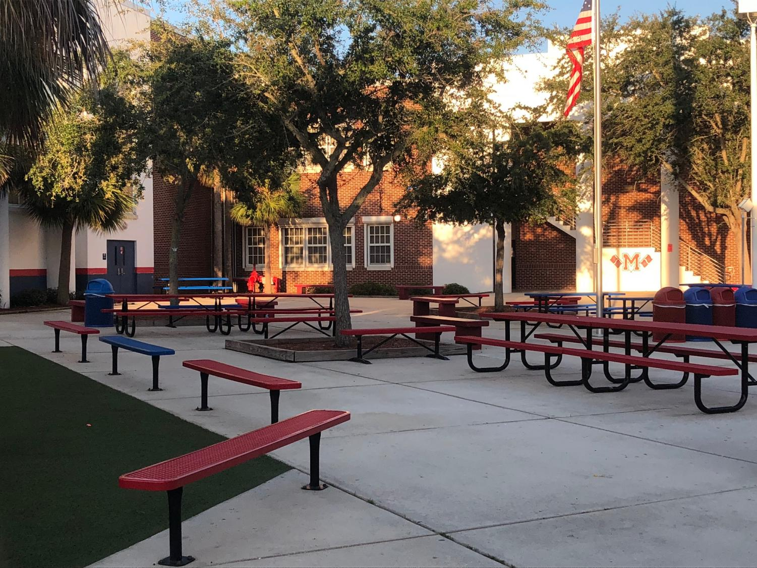 The morning sun shines on the Manatee High School courtyard. Photo Credit: Ethan Clark