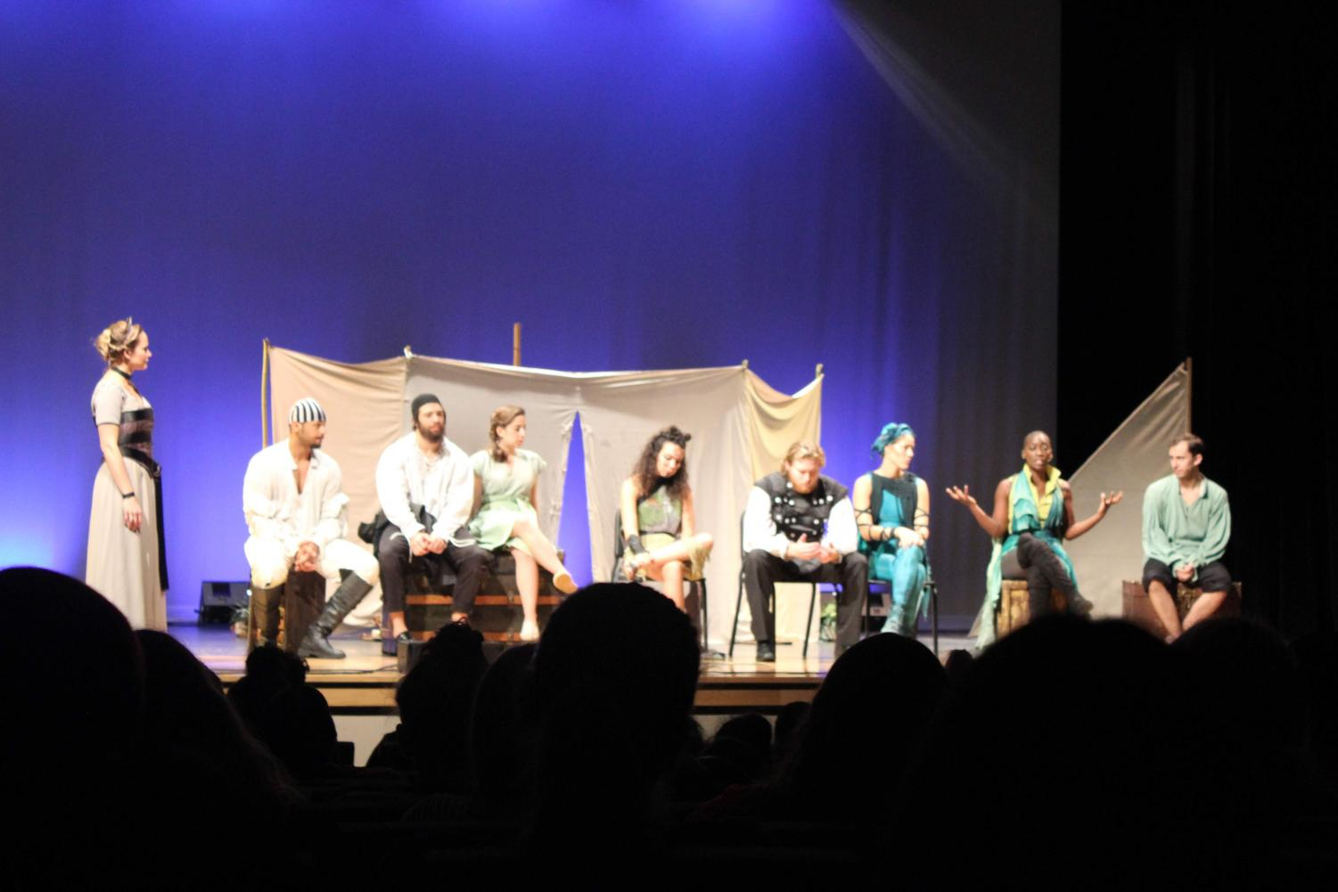 The actors of The Tempest line up to answer questions.