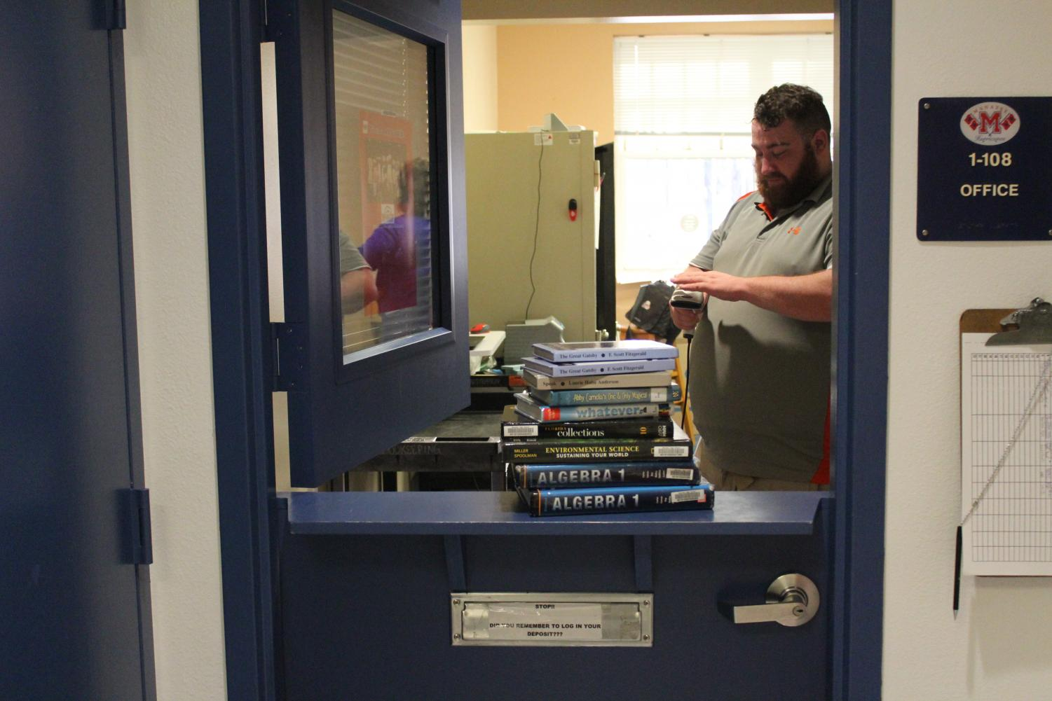BOOKKEEPING- Turning in books and money allows student to clear their debt. Debt is predominantly from unreturned textbooks. Mr. Lauster, the assistant bookkeeper, laughed,