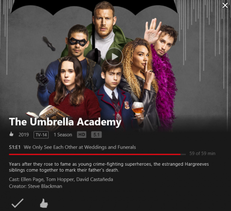 "When searching for ""The Umbrella Academy"" on Netflix one will find a trailer, ratings, cast-list and summary of the show they"