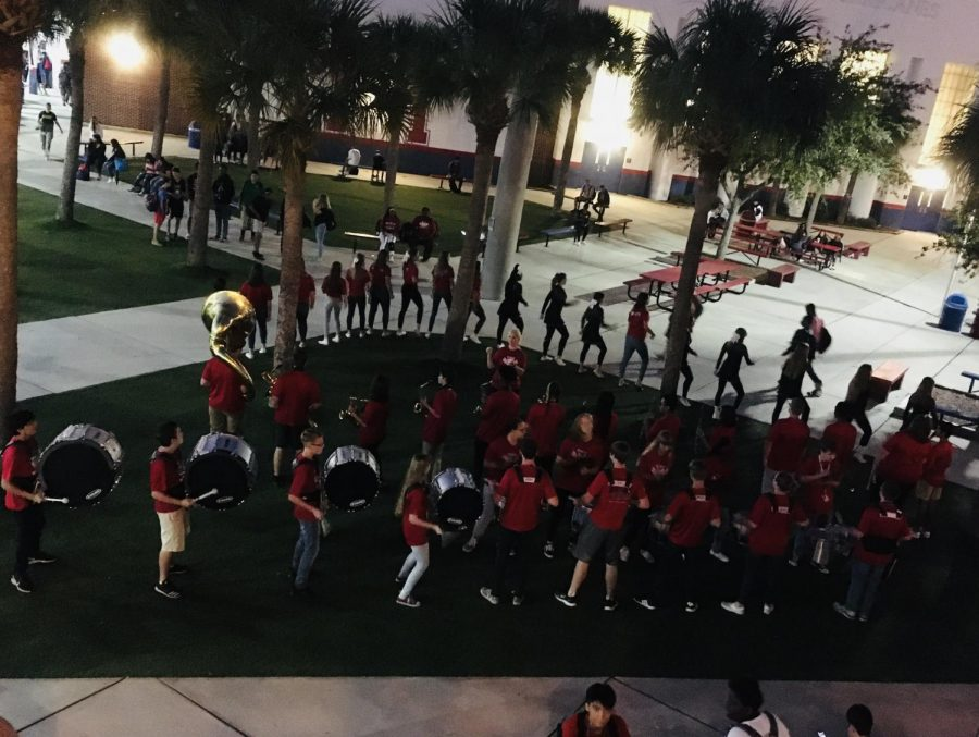 Morning Pep: The band chants 'Go canes, Go'. They have been doing the small pep rally since the fourth week of school.