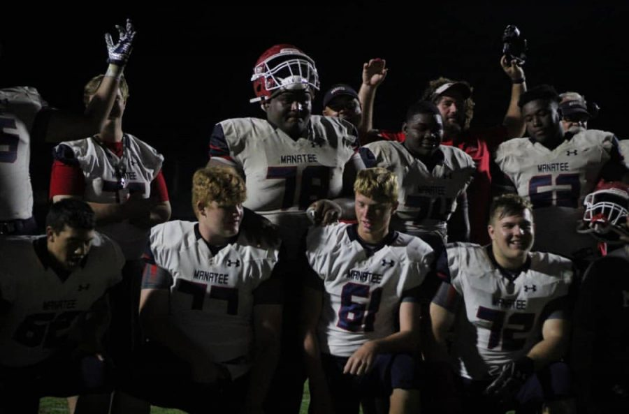 Go+Canes+Go%3A+They+will+play+the+district+championship+this+coming+Friday+on+Nov.+8.+At+the+Venice+football+game+last+Friday%2C+the+varsity+football+team+rejoices+in+their+win.+