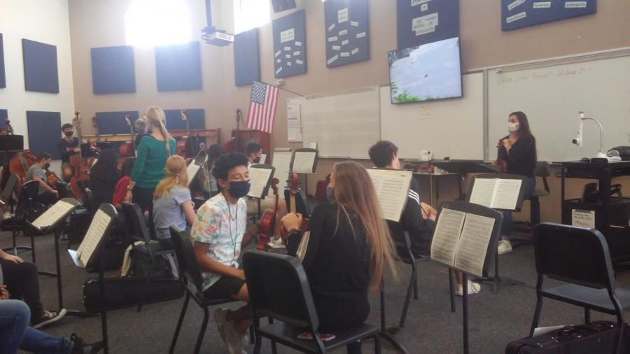 Students prepare to begin practice on a new music piece. Mrs.E went around doing temperature check on students.