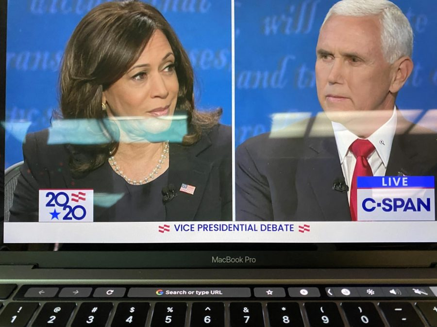 Pressing+Onward%21+The+Vice-Presidential+candidates%2C+Mike+Pence+and+Kamala+Harris+debated+each+other+onstage.+Topics+include+combating+COVID%2C+economic+implications%2C+and+America%27s+healthcare.+Image+Credit%3A+The+Commission+on+Presidential+Debates